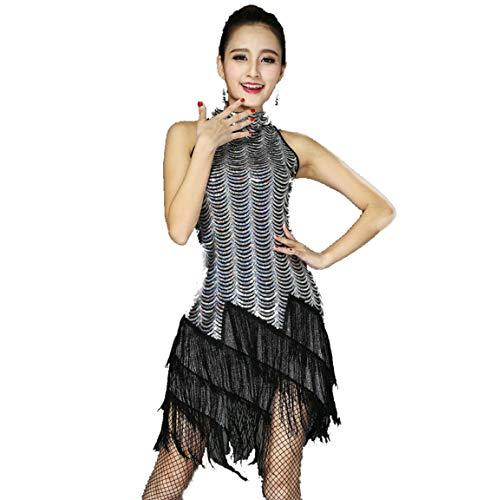 Lateinischer Tanzrock FüR Erwachsene Frauen Tanzen KostüM Halskette Salsa Kleid Samba Kleid Damen Tanzkleid,D,M
