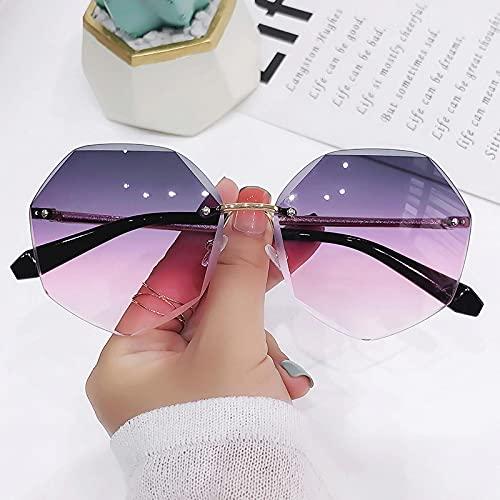 Secuos Moda Gafas De Sol De Gran Tamaño Sin Montura para Mujer Diseño Moda Dama Gafas De Sol Aleación Vintage Clásico Diseñador De Marca Tonos Uv400 Gafas Gris Rosa