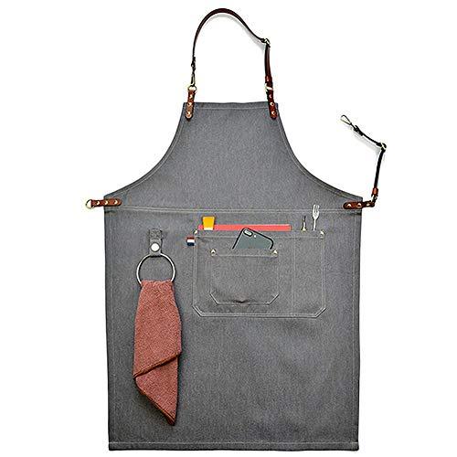 Delantales de lona de vaquero lavable, unisex, color gris, con correa de piel, para cocina, barbacoa, herramienta de bolsillo, delantal, Medium