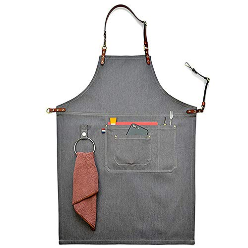 CPTDCL Unisex Grey Manual Denim Latzschürze Lederband Chef Kitchen BBQ Tool Pocket Schürze