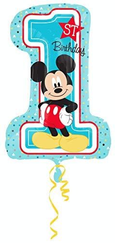 amscan 3434301 Folienballon Micky 1st Birthday, Mehrfarbig