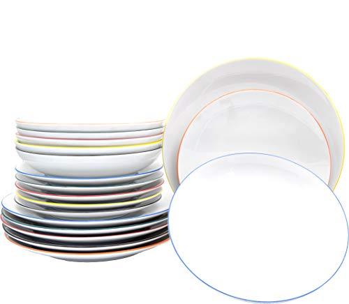 Vajilla de 18 piezas con platos planos y profundos con borde de color en 6 colores refrescantes de porcelana auténtica para gastronomía y hogar