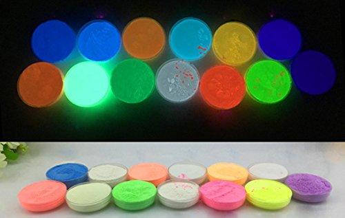 Huihong Fluoreszierendes Pulver Selbstleuchtend, 13 Packungen x 10g Nachtleuchtende Pigmente, für Party,Kunst, Holz, Papier und Wohnraum