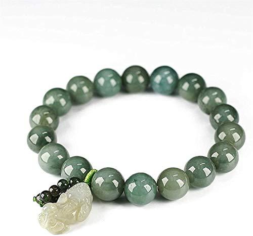 Gymqian Lucky Wealth Jade Feng Shui Pixiu Pulsera para Hombres Mujeres Emeralda Beads Retro Regalos Chinos Estilo Brazalete Atraer Dinero para la Buena Fortuna ¡Traiga la Prosperida