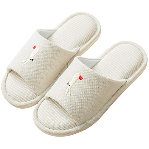 LIUXING-Home Pantuflas De Algodón para Mujer Zapatillas de algodón Femenino Silencio Silencio Suave Silent Anti-Skid Paño Inferior Algodón y Ropa de Cama Zapatillas Ligeras Antideslizantes