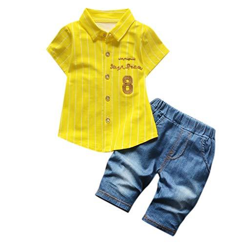 Daoope Bambina 18 Mesi Vestiti Bambino Maschio 1 2 3 5 6 8 Anni Vestiti Bambina Neonato Vestiti Bambina Pantaloni Bambino Camicia A Maniche Corte con Stampa Jeans Pantaloncini Denim Set Due Pezzi