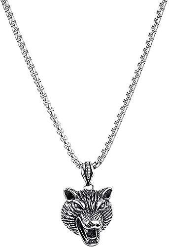 ZJJLWL Co.,ltd Necklace Titanium Steel Necklace Men Accessoriesstainless Steel Wolf Head Pendant Necklace Gift for Women Girls Boys Necklace