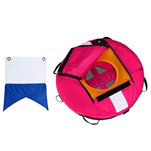 SM SunniMix Boya de Apnea Profesional Flotador de Seguridad Inflable Y Buzo por Debajo de La Bandera de Buceo - Visibilidad Y Duradero - Elija Colores - Rosado