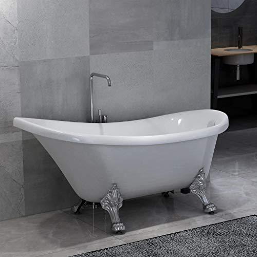 mewmewcat Freistehende Badewanne mit Löwenfüßen Weiß Acryl