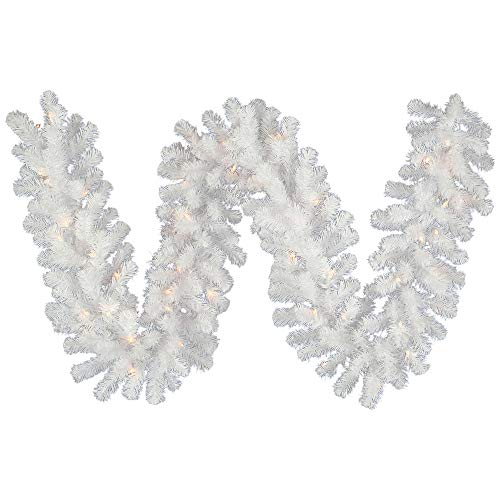 Vickerman Crystal White Garlands and Wreaths White Garland with 100 Clear Dura-Lit, 16-Inch
