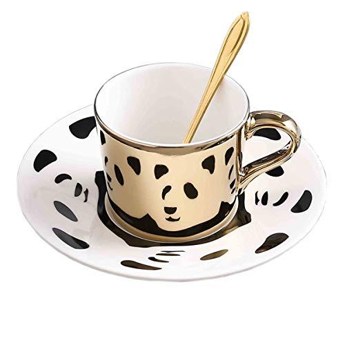 fanquare 250 ml Taza de Café de Reflejo del Espejo de Panda, Taza de Té de Cerámica dorada, juego de Taza de Café y platillo