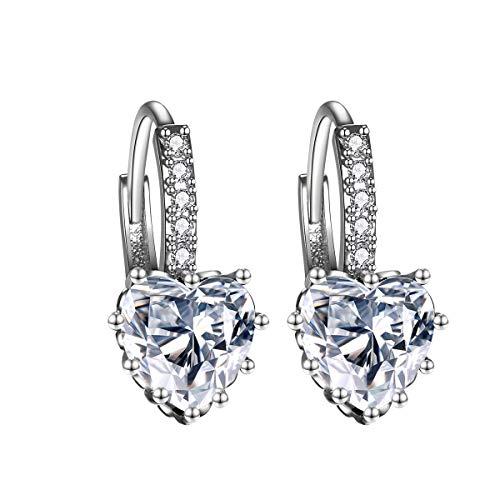 Orecchini a bottone eleganti a forma di cuore con pietre zircone AAA Orecchini a forma di cuore per donna (bianco)