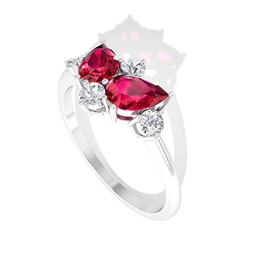 Rosec Jewels 10 quilates oro blanco pera round-brilliant-shape H-I Red Diamond Ruby Lab creado