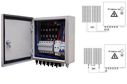 ECO LLC 6 String PV Combiner Box 10A Rated Current with Lighting Arreste and Grounding Bus-Bar Ideal For Off-grid Solar System