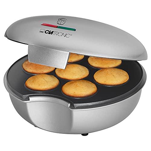 Clatronic Muffinmaker MM 3496, backen von bis zu 7 Muffins, Backflächen antihaftbeschichtet, Muffin Durchmesser ca. 4.5 cm, silber/schwarz