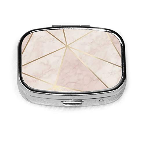 Zara Pillendose, tragbar, schimmernd, metallisch, weich, rosa, gold, Pillendose für Geldbörse oder Tasche, modischer Behälter für Reisen und den täglichen Gebrauch