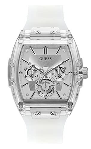 GUESS Reloj acentuado de cristal de 43 x 51 mm, Plateado/Blanco, Uno, Phoenix GW0203G1