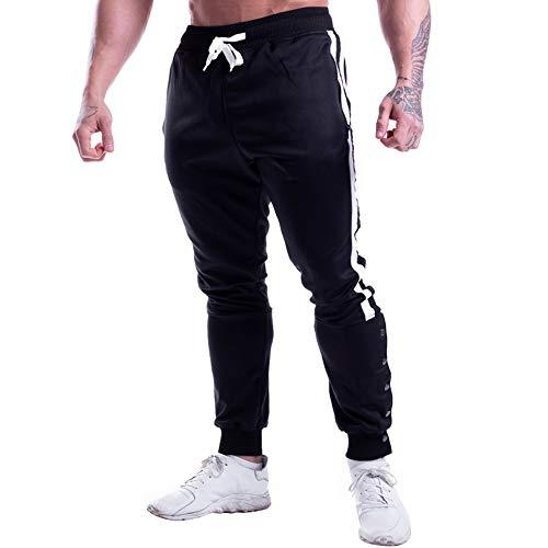 Pantalon de Sport Homme Slim Fit, Morbuy Casual Rayures Verticales Ceinture Élastique Poches Bouton Survêtement Pantalons pour Running Jogging Entraînement Gym Fitness Bodybuilding Boxe (2XL,Noir)