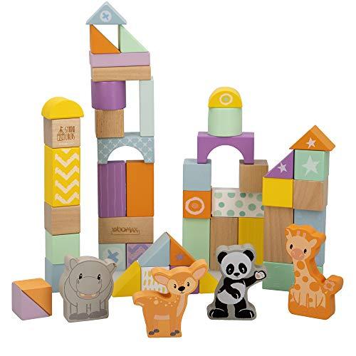 WOOMAX - Juego construcción madera animalitos 50 piezas WOOMAX Studio Circus (46458)