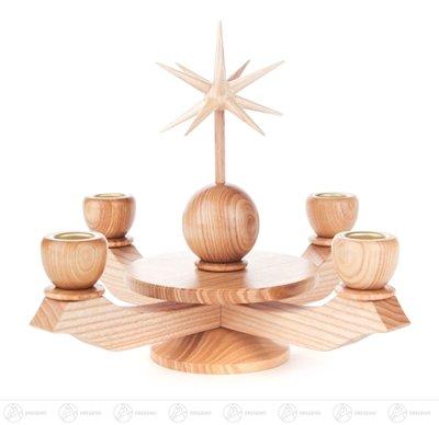 Adventsleuchter mit Stern, natur – Kerzenhalter - Weihnachtsleuchter – Holz – Handarbeit Erzgebirge – Höhe 19 cm - NEU