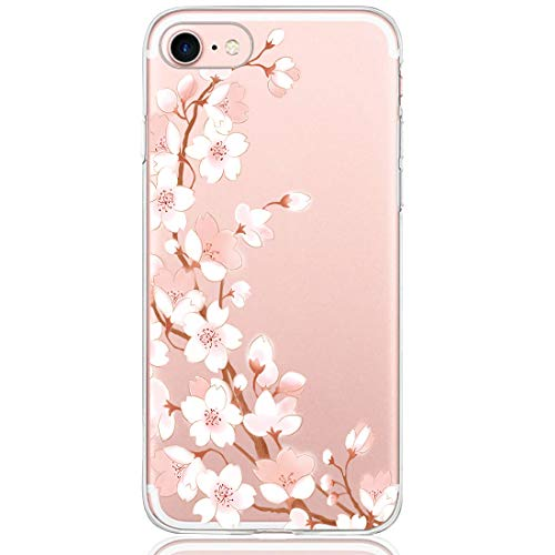 Pacyer Funda compatible con iPhone 7, Suave Carcasa compatible iPhone 8 Plus transparent Case Cover Silicona Funda compatible iPhone 7/8 Plus Diseño Rosa flower (1, iPhone 7 Plus / 8 Plus)