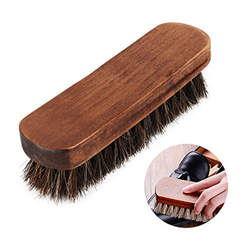 Wenyue Cepillos de Zapatos Limpieza Cabello de Madera de Cepillo para Botas Cepillo Zapatos para Pulir Lustradores Cabello de Caballo Cepillos de Zapatos Ideal para Lustrar y Cuidar Calzado 1 Pieza