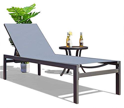 Kozyard Modern Full Flat Alumium Patio Reclinging Adustable Chaise Lounge with Sunbathing Textilence for All Weather, 5 Adjustable Position, Very Light, Anti-Rusty (Gray)