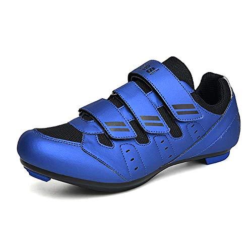 Zapatos de ciclismo para hombres, Zapatos de spinning al aire libre, Zapatos de ciclismo de carretera 38-46, Blue, 39 1/3 EU