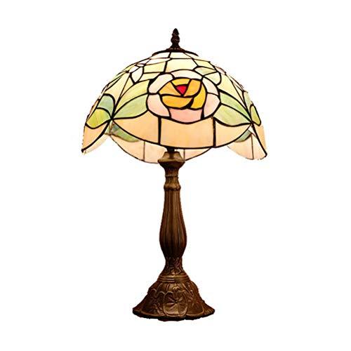 DIMPLEYA Tiffany Lámpara de Mesa Vintage 12 Pulgadas Hecho a Mano Lámparas de Mesa Antigua Lámpara de Cama Original Lámpara Pastoral Estilo Rosa Glaaling