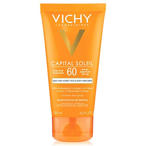 Vichy Capital Soleil Body & Face Sunscreen Lotion, Daily Anti Aging Sunblock with Broad Spectrum SPF 60, Dermatologist Recommended, Oxybenzone-Free, 5 fl. oz.