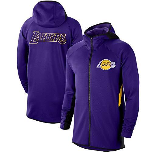 Hombres Sudadera con Capucha De La NBA Los Angeles Lakers De Entrenamiento Deportivo Ropa De Sport Traje Suelta Al Aire Libre De La Capilla De La Cremallera Purple-XXL