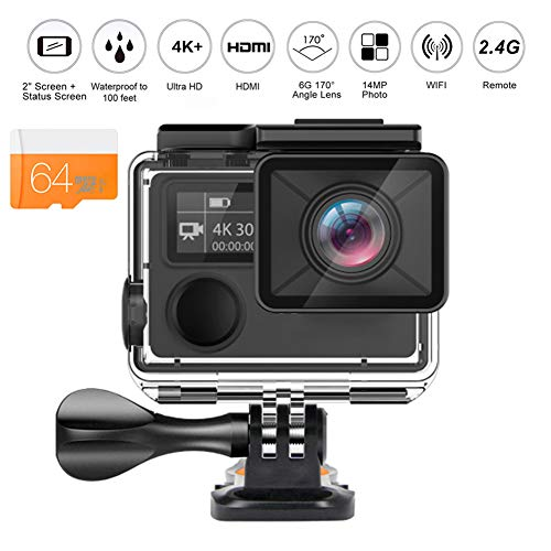 Wi-Fi 4K14MP Azione Fotocamera Ultra Videocamera HD 100 Feet Macchina Fotografica Impermeabile Di Sport Con 170 Gradi Obiettivo Grandangolare E 2.4G Remoto, Batteria Ricaricabile E Kit,64g,Option1