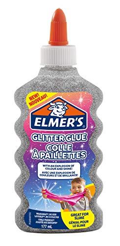 Elmer's Colla Vinilica Glitterata, Argento, 177 ml, Lavabile e Adatta ai Bambini, Ottima per Realizzare Slime, Confezione da 1