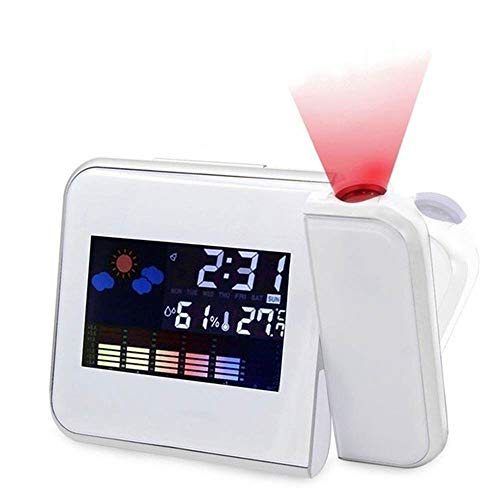 Digital LED Projektion Wecker Wetter Thermometer Snooze Hintergrundbeleuchtung Kalender, Projektor Dimmbare Uhr Doppelalarme Anzeige Datum Uhrzeit Temperatur (White)