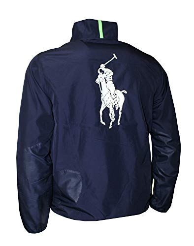 Polo Ralph Lauren Men's Athletic Windbreaker Full Zip Big Pony Jacket (Navy, M)
