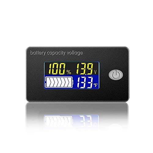 LCDデジタル電圧計 温度計搭載 車 バイク 電池残量表示 バッテリーチェッカー 小型 2線式 パネルメーター 電圧計 (ブザーなし)