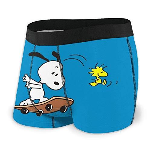 Kay Sam Pouch Boxer Slips Kurze Badehose Anime Snoopy Herren Unterwäsche Stretch Boxershorts für Herren Kurze Bein Unterhose Atmungsaktive, Bequeme Faserpackung