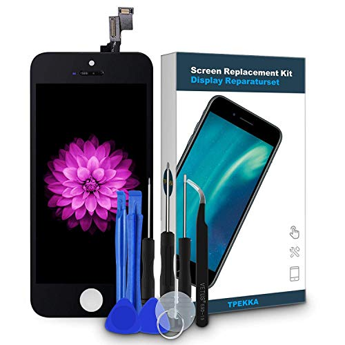 TPEKKA Display Ersatz für iPhone 5S/SE Display Bildschirm LCD Touchscreen Digitizer Display Front Glas Panel mit Reparatur Komplett Set Werkzeuge für iPhone 5S/ SE Screen DIY Schwarz, 4 Zoll…