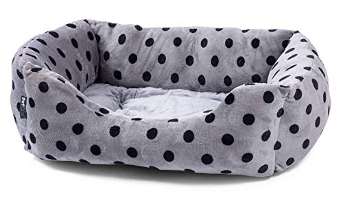 Petface Grey and Black Dots Square Puppy/Dog Bed - Large