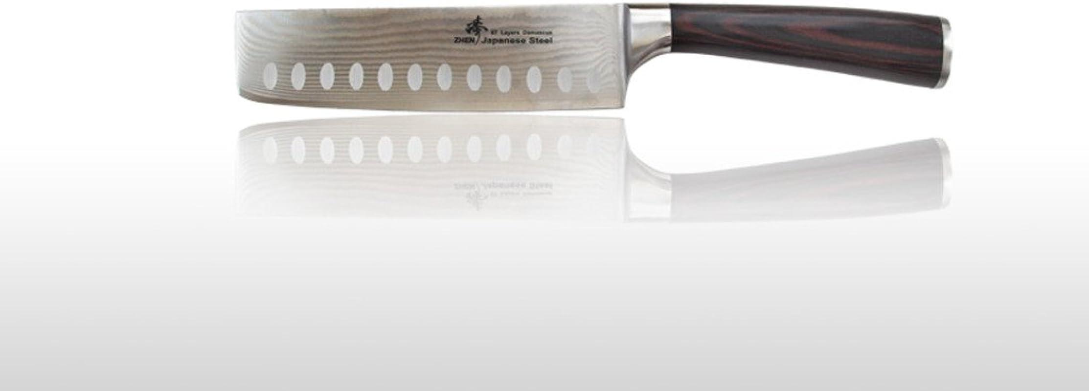 ZHEN Japanese VG 10 67 Layers Damascus Steel Vegetable Usuba Nakiri Hollow Ground Knife Cleaver 7 Inch
