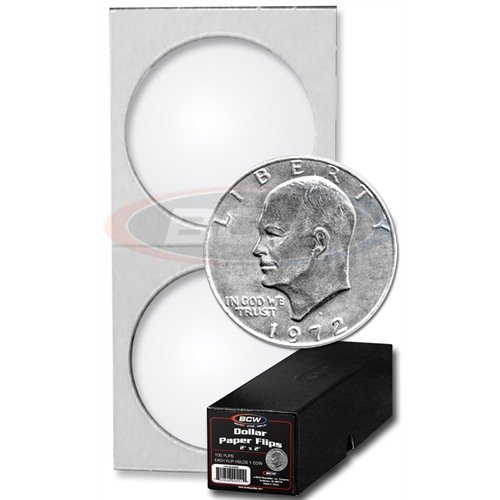BCW 100 Ct Premium Large Dollar Coin Holders with Black Coin Holder Storage Box