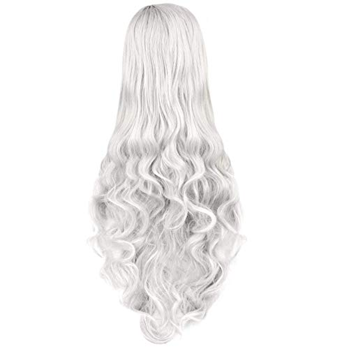 Rbenxia rizado cosplay peluca cabello largo resistente al calor espiral disfraz Pelucas 32 pulgadas, Plateado
