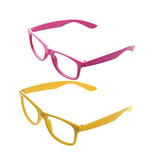Vrttlkkfe 2 piezas con estilo niños niñas niños niños fiesta accesorios gafas marco sin lentes nuevo - rosa y amarillo