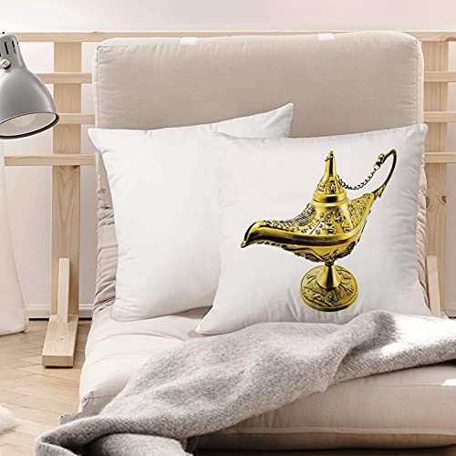 Funda de Cojines Suave Poliéster,Árabe, lámpara de genio mágico de Aladdin Wish Mystery Mag,Funda de Almohada Cremallera Oculta Duradero Decoración para Sofá Cama Dormitorio Aire Libre Oficina 45x45cm