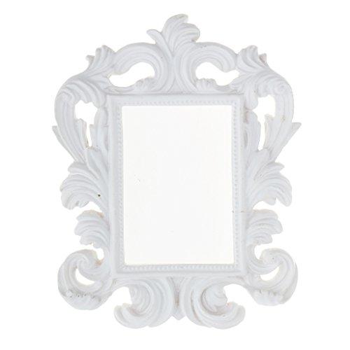 Fenteer Cadre Photo Noir Cadre Vintage Ancien Décoratif Baroque pour Miroir Salle de Bains Salon Chambre - Blanc