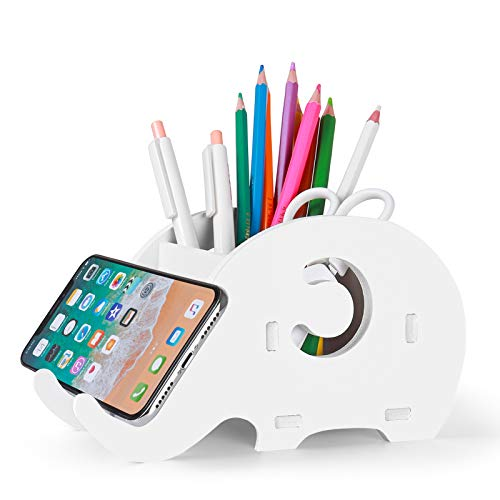 Desk Supplies Organiser Mokani Cute Elephant Pencil Holder Multifunctional Office Accessories Desk Decoration with Cell Phone Stand Office Supplies Desk Decor Organiser White