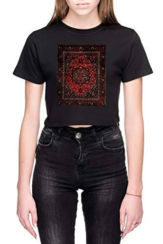 Perzisch Tapijt Kijken In Roos Dames Crop T-Shirt Zwart Women's Crop T-Shirt Black