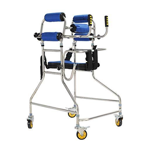 Staande Walking Frame Volwassen Walker Rollators 4-Wheel met Zit en Infusie Stand Intubatie Dubbele Onderarm Ondersteuning Remfunctie hoogte/Breedte Verstelbare Kerstcadeaus voor Ouderen