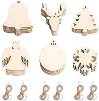 60個の木製つまらないもの木製のクリスマスデコレーションナチュラルウッドスライスペイント可能なクリスマスオーナメントDIYクラフトのペンダントクリスマスツリーのデコレーションクリスマスホリデーハンギングデコレーション