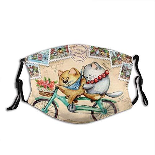 Mundschutz Gesichtsbedeckung Die Katze und die Katze Reisen auf einem Fahrrad vor dem Hintergrund von Briefmarken aus verschiedenen Ländern Sturmhaube Mund Bandanas Running Neck Gaiter mit 2 Filtern